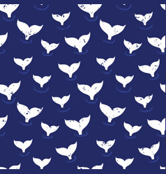whale fin seamless pattern simple marine vector image