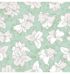 White lilies Seamless pattern vector image