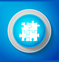white piece of puzzle icon on blue background vector image