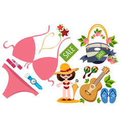 Woman in a bathing suit panama hat and umbrella vector