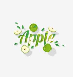 word apple design in paper art style vector image