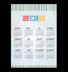 2018 simple business wall calendar abstract paper vector image vector image