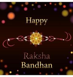 Beautiful creative rakhi on shiny background for vector image vector image