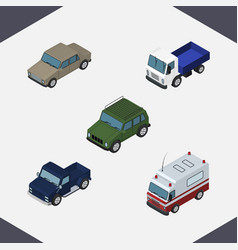 Isometric car set of armored auto lorry and vector