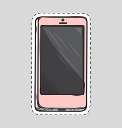 mobile phone patch cut out of paper dashed line vector image