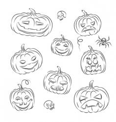 Pumpkins sketched vector