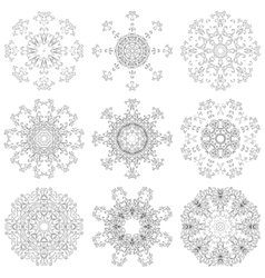 Set abstract floral patterns contours vector image vector image