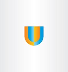 u letter logo orange blue icon vector image