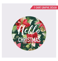 Christmas Pine Tree and Flowers Graphic Design vector image vector image