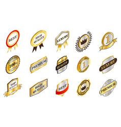 gold emblem icon set isometric style vector image