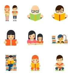 Icons set of people reading book in flat style vector image