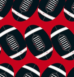 Navy footballs seamless pattern on a red vector image vector image