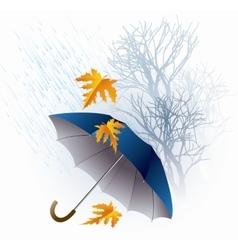 Umbrella and Rain Autumn Icon Minimalistic Style vector image