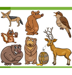 wild animals cartoon set vector image vector image