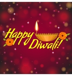 Greeting card for diwali with diya decoration vector