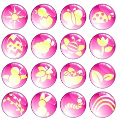 pink spring icons vector image vector image
