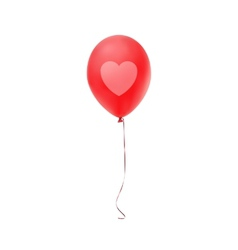 Red balloon with heart print isolated on white vector image vector image