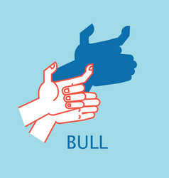 shadow theater hands gesture like bull vector image