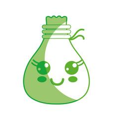 Silhouette kawaii cute happy cloth bag vector