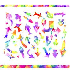 watercolor arrow icons se vector image vector image