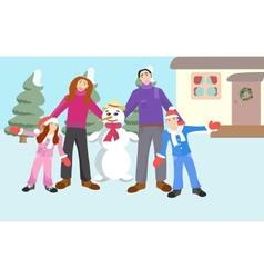 Family with a Snowman vector image vector image