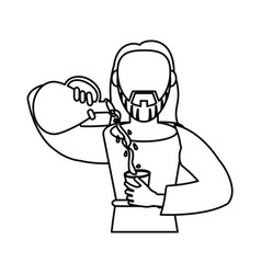 jesus christ holding clay pitcher water wine vector image