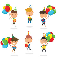 jumping boys carrying colorful wrapped gift boxes vector image vector image