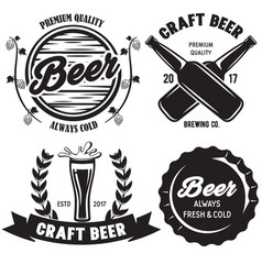 set of craft beer badges with with design elements vector image vector image