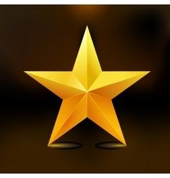 Single golden star shine on dark background vector image