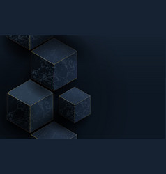 3d dark blue cubes and marble texture background vector image
