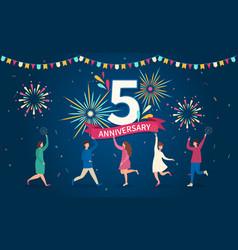 5 - year anniversary celebration vector