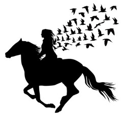 Abstract of woman riding a horse and birds vector