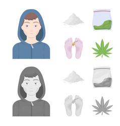 addict cocaine marijuana corpsedrug set vector image