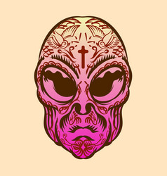 Alien head with tattoo for logo badge element vector
