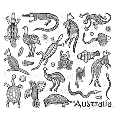 Animals drawings aboriginal australian style vector