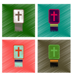 Assembly flat shading style icons bible book vector