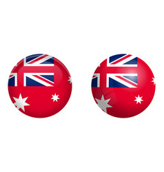 australian red ensign flag under 3d dome button vector image