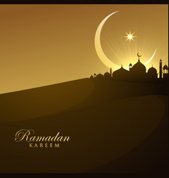 Beautiful mosque silhouette in night with vector