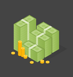 Big stacked pile of cash and some gold coins flat vector