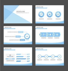 Blue presentation infographic templates set vector image