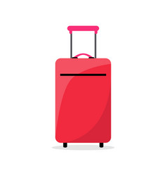 bright red suitcase on wheels to travel abroad vector image