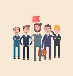 Businessmen and their leader with a flag vector