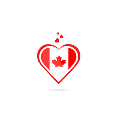 canada country flag inside love heart creative vector image