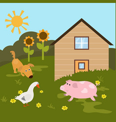 Cartoon farm landscape cartoon farm landscape vector