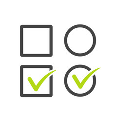 Check uncheck square and round checkbox set with vector