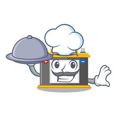 Chef with food accomulator cartoon sticks on the vector