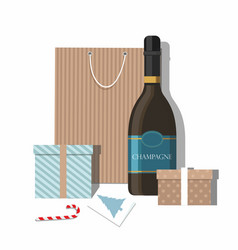 Christmas gifts greeting card and champagne vector