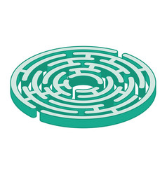 Circle isometric labyrinth isolated on white vector