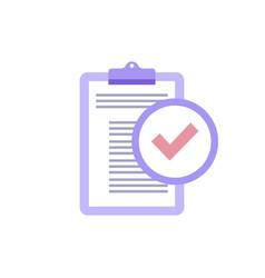 clipboard with check mark in trendy proton purple vector image