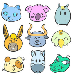 collection of animal colorful doodles vector image